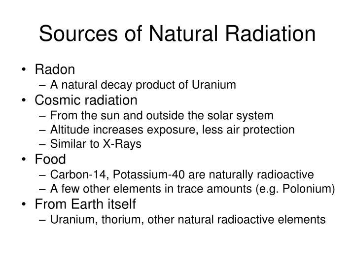 Sources of Natural Radiation