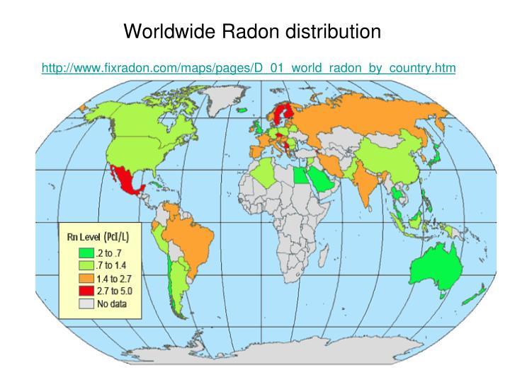 Worldwide Radon distribution