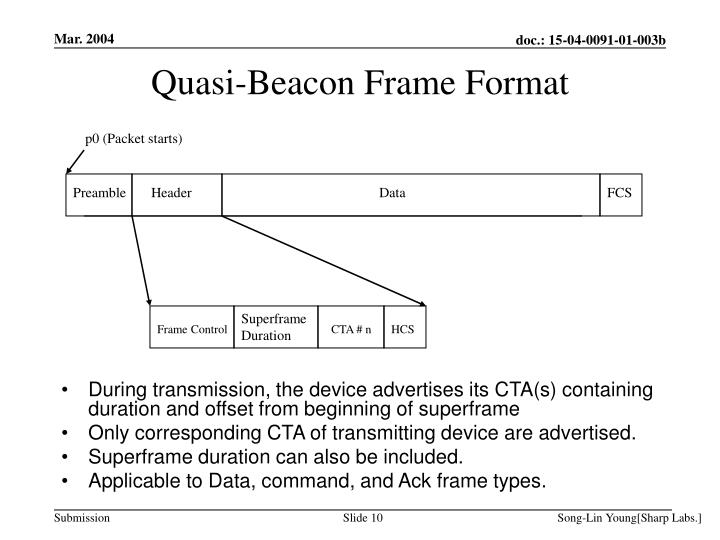 Quasi-Beacon Frame Format