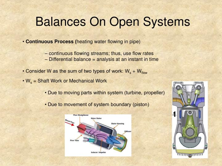 Balances On Open Systems