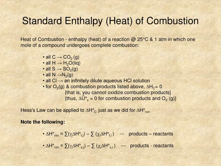 Standard Enthalpy (Heat) of Combustion
