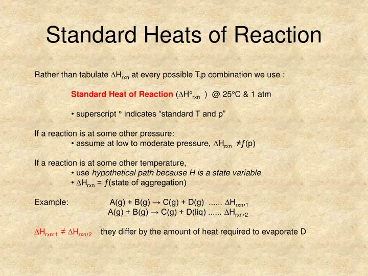 Standard Heats of Reaction