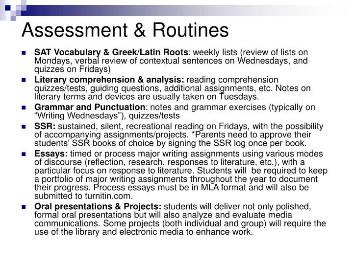 Assessment & Routines