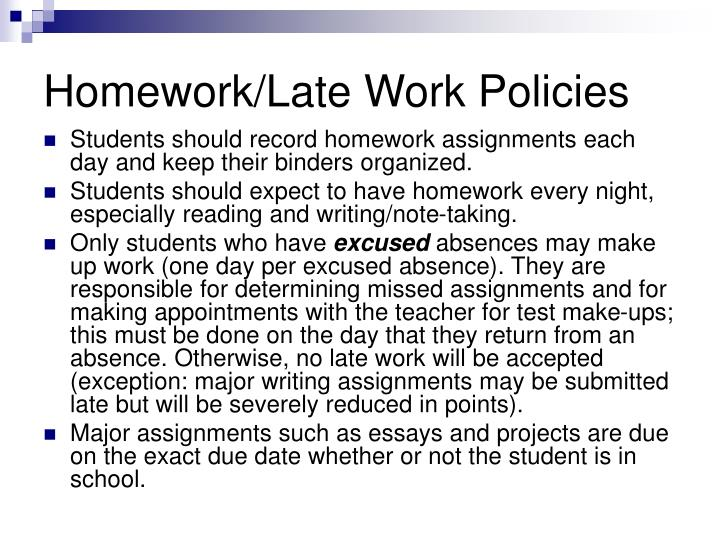 Homework/Late Work Policies