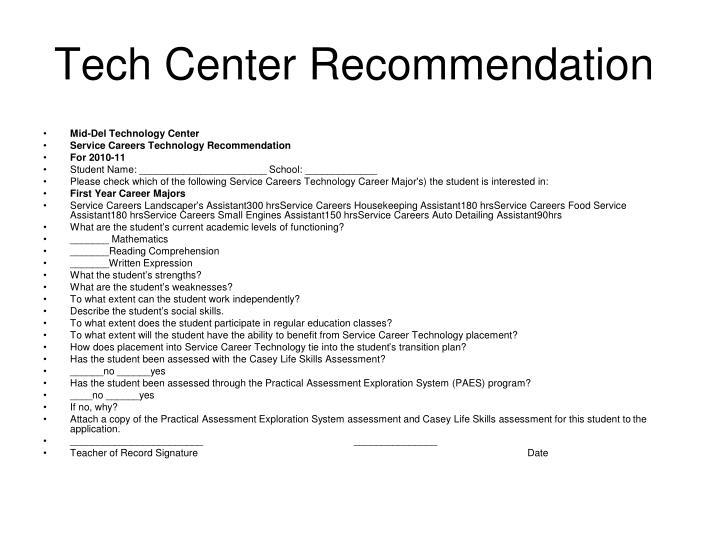 Tech Center Recommendation