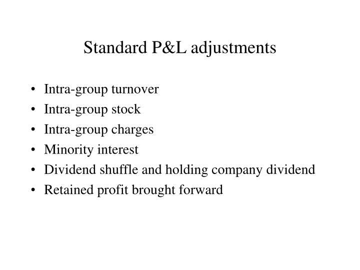 Standard P&L adjustments