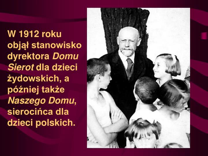 W 1912 roku objął stanowisko dyrektora