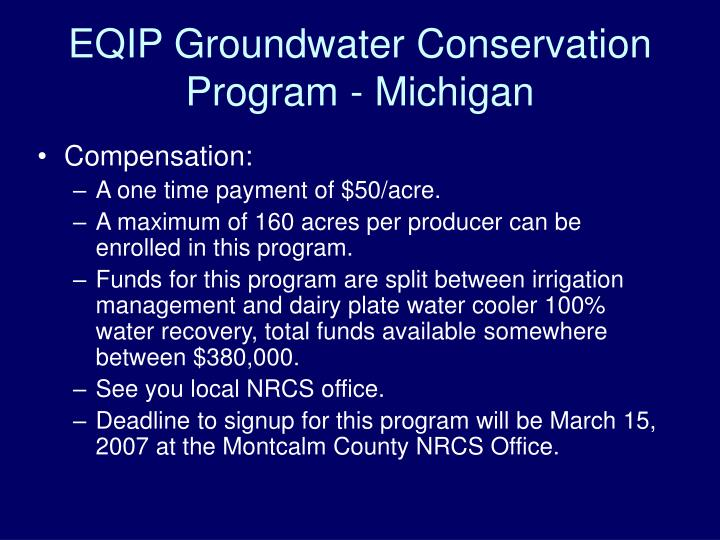 EQIP Groundwater Conservation Program - Michigan