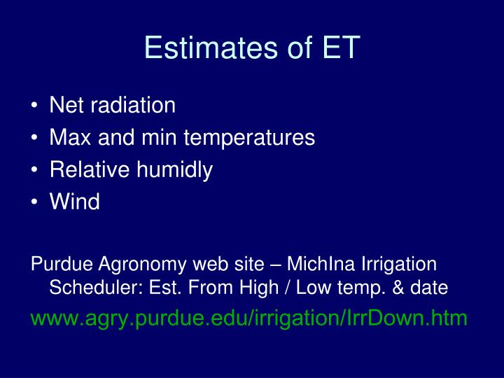 Estimates of ET