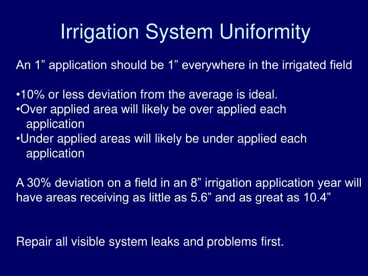 Irrigation System Uniformity