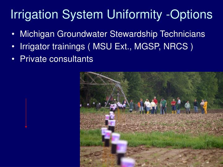 Irrigation System Uniformity -Options