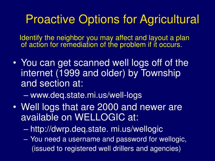 Proactive Options for Agricultural