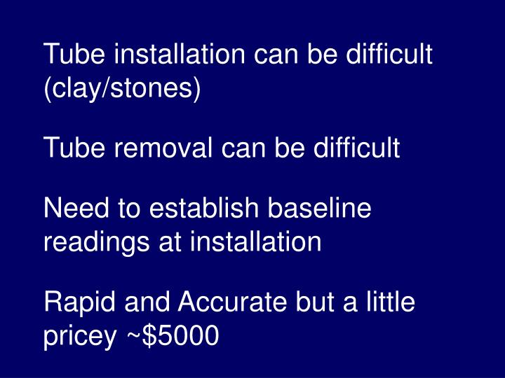 Tube installation can be difficult (clay/stones)