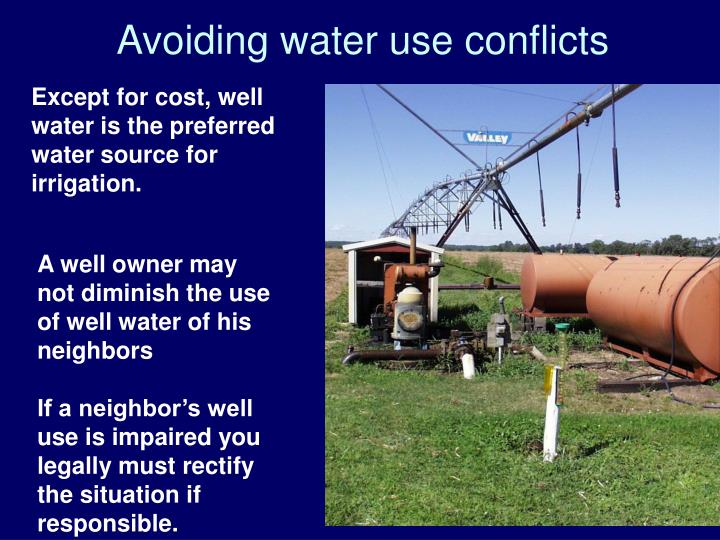 Avoiding water use conflicts