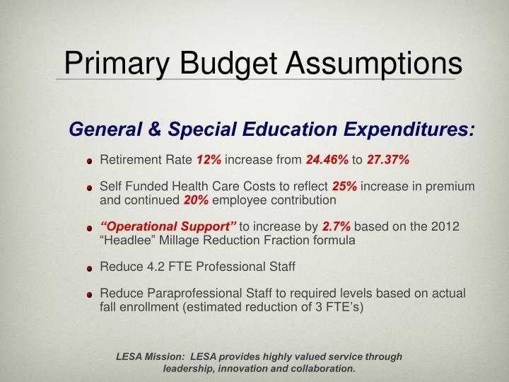 Primary Budget Assumptions