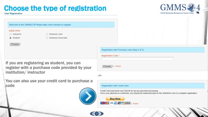 Choose the type of registration