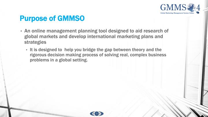 Purpose of gmmso