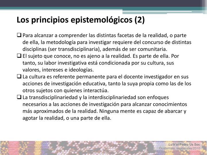 Los principios epistemológicos (2)