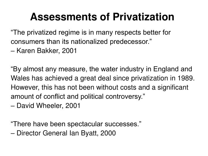 Assessments of Privatization