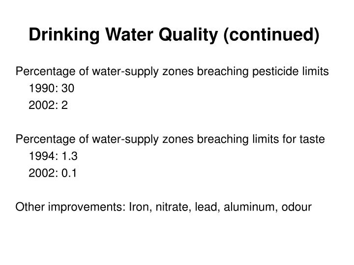 Drinking Water Quality (continued)