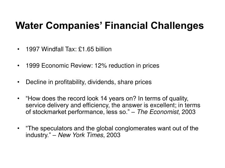 Water Companies' Financial Challenges