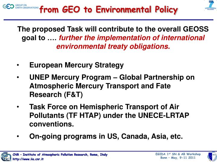 from GEO to Environmental Policy