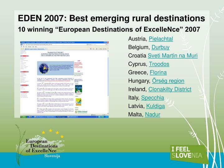 EDEN 2007: Best emerging rural destinations