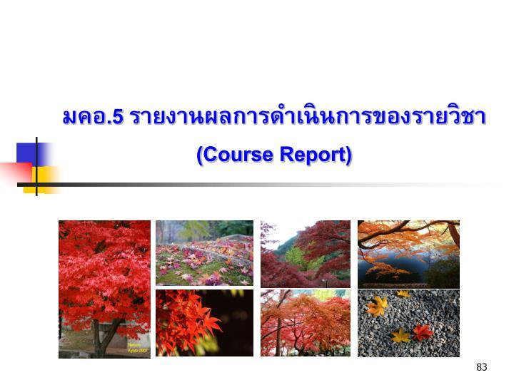 มคอ.5 รายงานผลการดำเนินการของรายวิชา