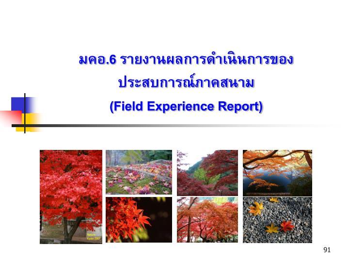 มคอ.6 รายงานผลการดำเนินการของประสบการณ์ภาคสนาม