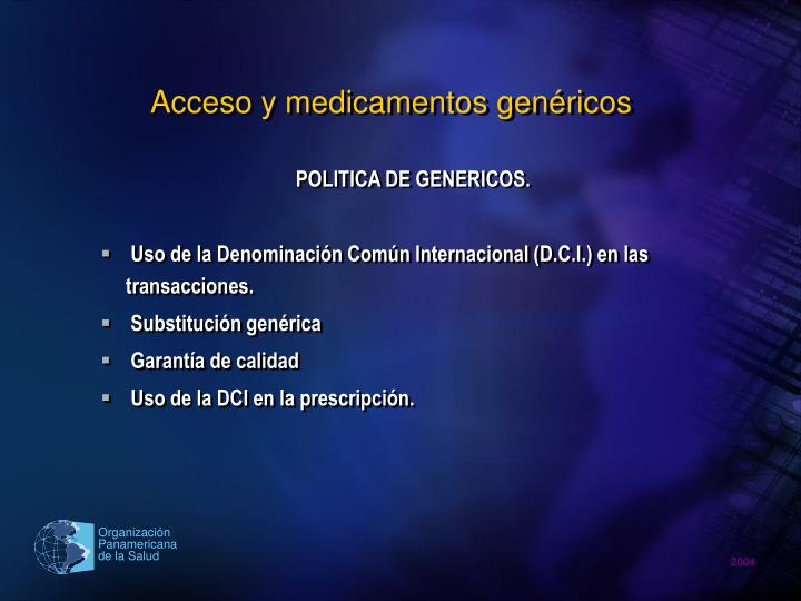 Acceso y medicamentos genéricos