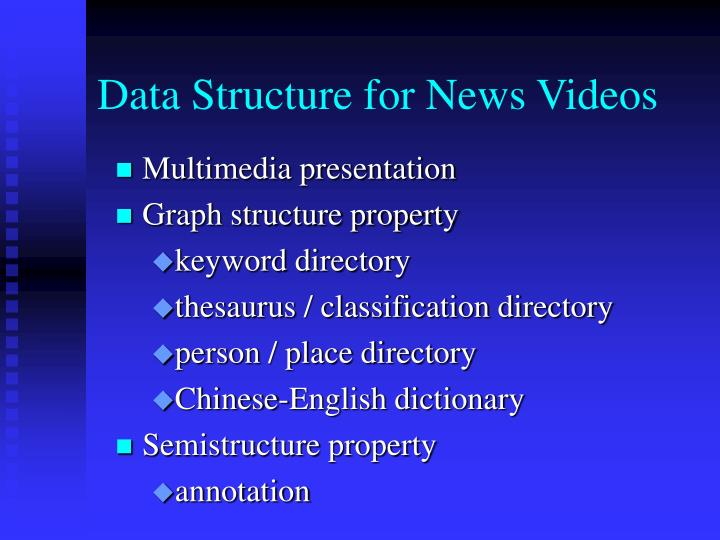 Data Structure for News Videos
