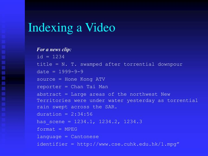Indexing a Video
