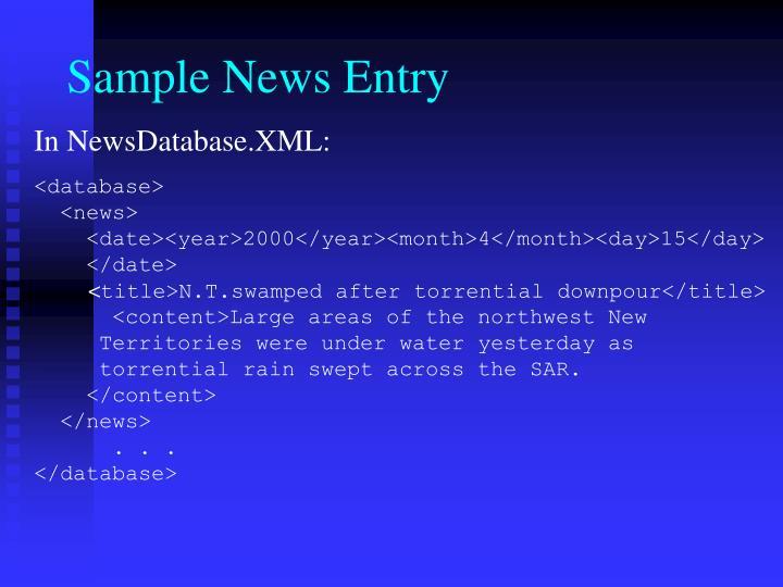 Sample News Entry