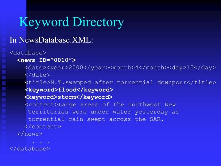 Keyword Directory