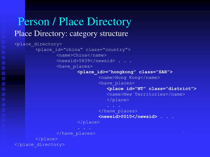 Person / Place Directory