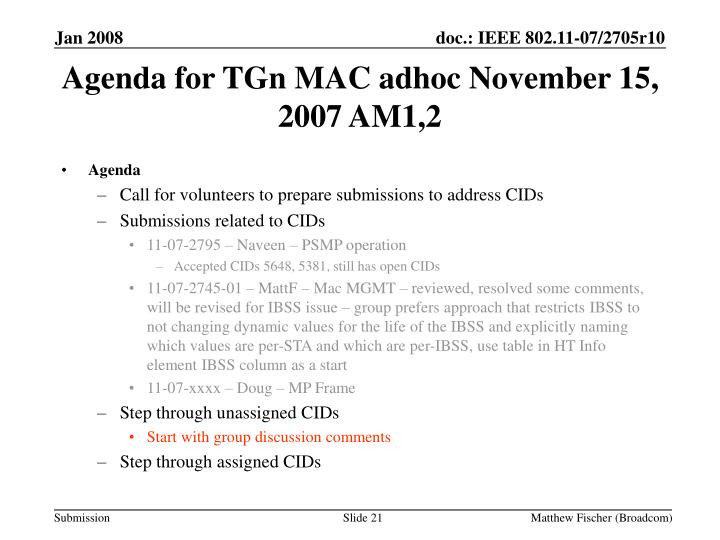 Agenda for TGn MAC adhoc November 15, 2007 AM1,2