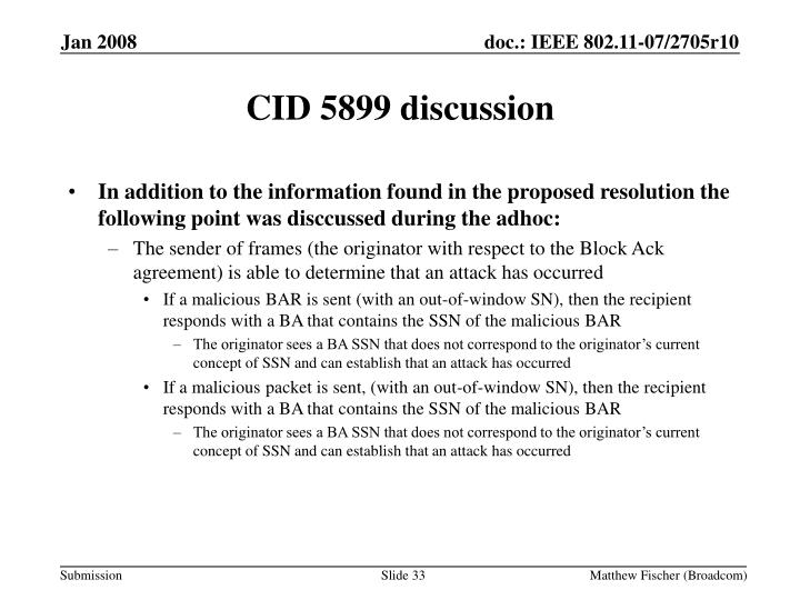 CID 5899 discussion