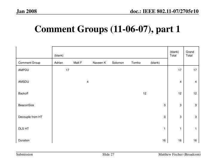 Comment Groups (11-06-07), part 1