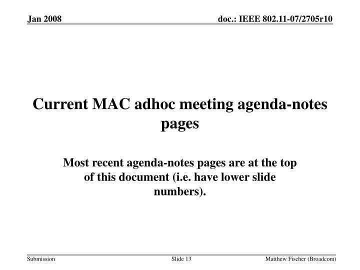 Current MAC adhoc meeting agenda-notes pages