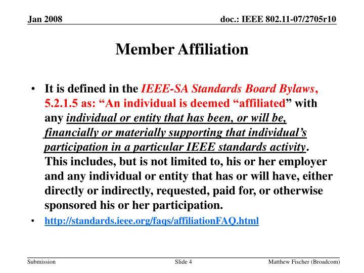 Member Affiliation