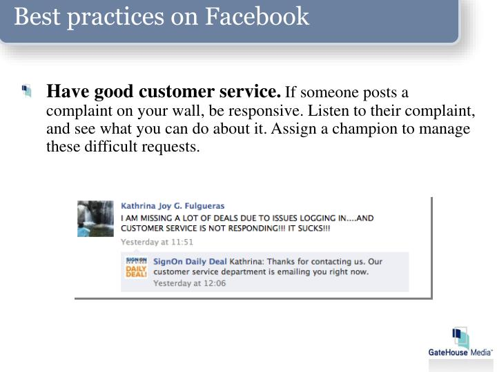 Best practices on Facebook