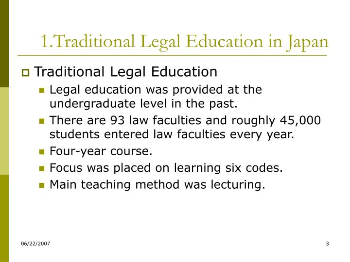1 traditional legal education in japan