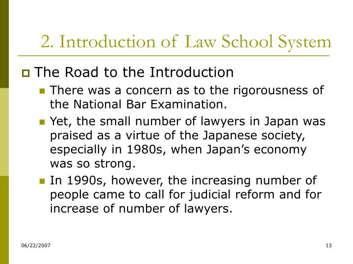 2. Introduction of Law School System