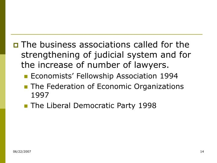 The business associations called for the strengthening of judicial system and for the increase of number of lawyers.