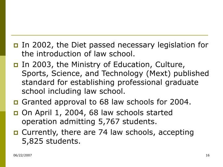 In 2002, the Diet passed necessary legislation for the introduction of law school.