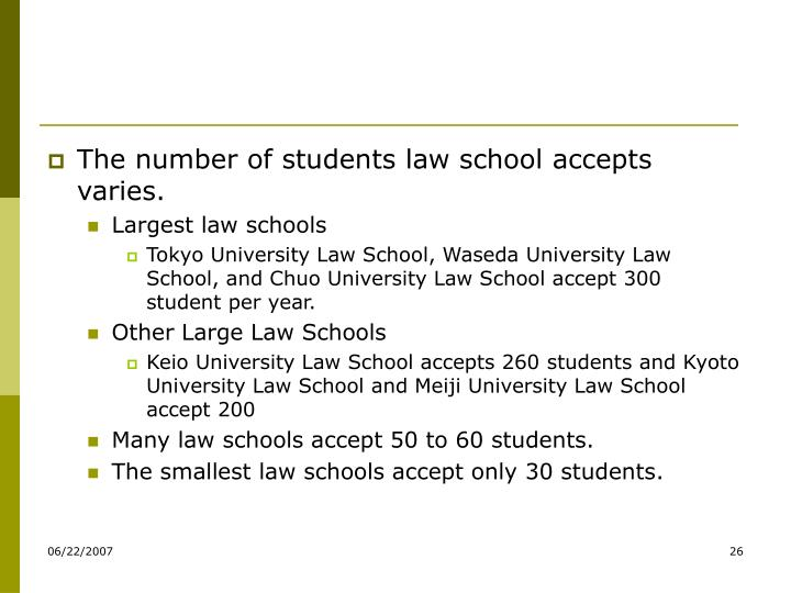 The number of students law school accepts varies.
