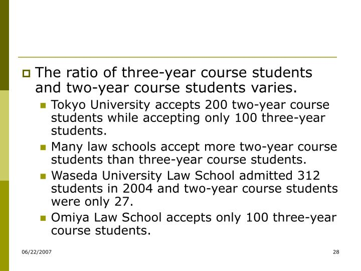 The ratio of three-year course students and two-year course students varies.