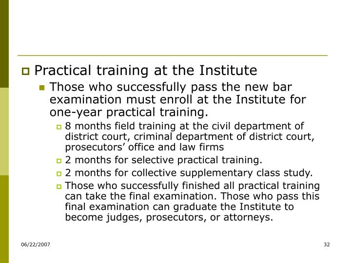 Practical training at the Institute