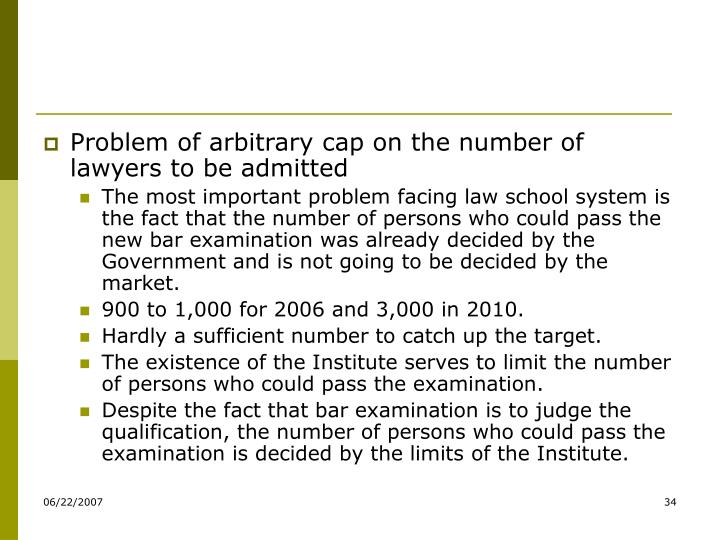 Problem of arbitrary cap on the number of lawyers to be admitted