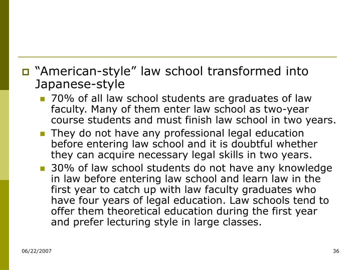 """American-style"" law school transformed into Japanese-style"